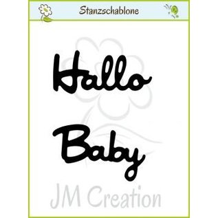 "Punching and embossing templates: German text: ""Hello"" and ""Baby"""