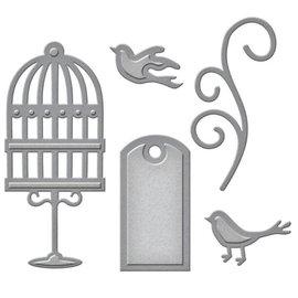 Spellbinders und Rayher Puncionamento e gravação de modelo: etiqueta, aves de gaiola e redemoinho