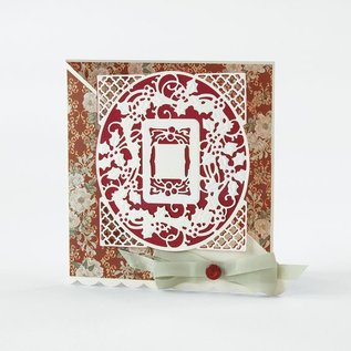 Tonic stamping and embossing stencil: Christmas decorative frame
