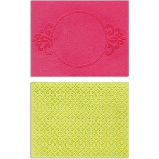 embossing Präge Folder Prægning mapper: Circle Frame & Spark Lina Set