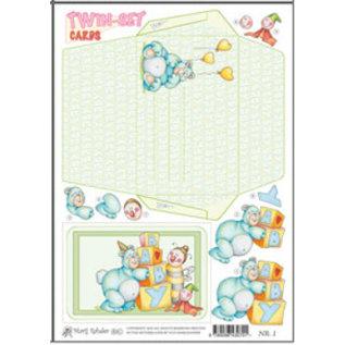 KARTEN und Zubehör / Cards Marij Rahder twin set cards 01 baby
