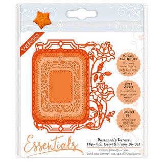 Tonic stempelen en embossing folder: Flip Flop, schildersezel & frame met rozen