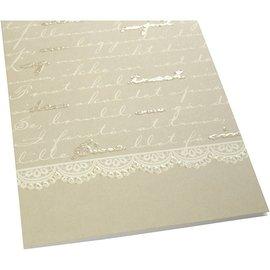 KARTEN und Zubehör / Cards 4 Doppelkarten mit Script Druckmuster davon 2 mit und 2 ohne Glitter