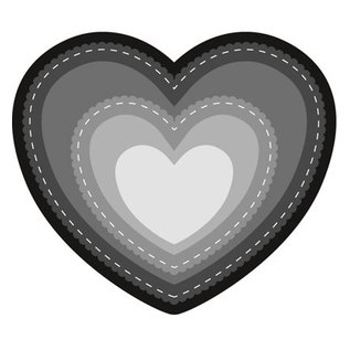 Marianne Design Stanz- und Prägeschablone: Herz Basic, teiles gewellt und mit sticklinien!