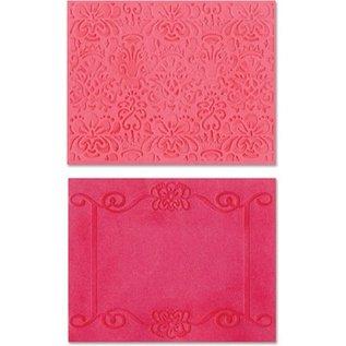 embossing Präge Folder Gaufrage dossiers: Cadre Scroll / Succulent Set
