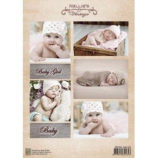 Nellie Snellen Decoupage ark vintage, baby piger