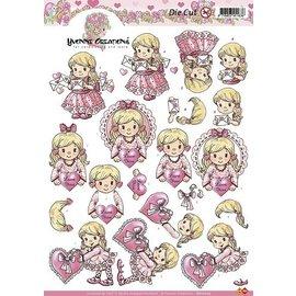 Yvonne Creations Folhas A4 cortadas: Menina com coração
