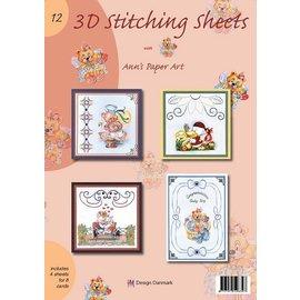 Bücher und CD / Magazines A4 livro Stickvorlage para 8 cartões