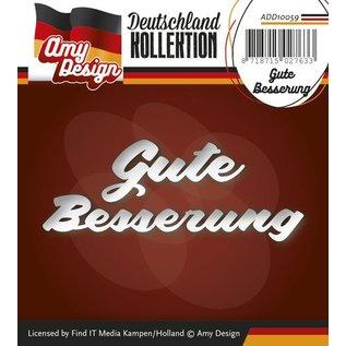AMY DESIGN Stansning og prægning skabeloner: Tysk Tekst: Få godt snart