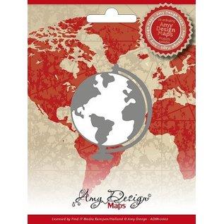 AMY DESIGN Estampillage et gaufrage pochoir, Amy conception, cartes, Globe