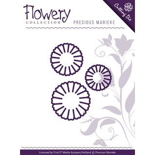 Precious Marieke Punching and embossing template: 3 daisy flowers