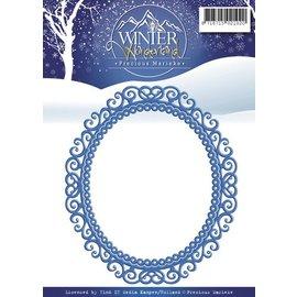 Precious Marieke Perfuração e molde de estampagem: bela moldura ornamental, Oval