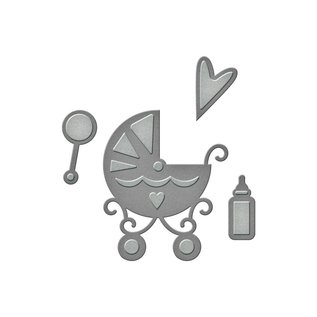 Spellbinders und Rayher Ponsen en embossing sjabloon: Babysachen