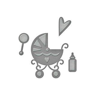 Spellbinders und Rayher Stanz- und Prägeschablone: Baby Sachen