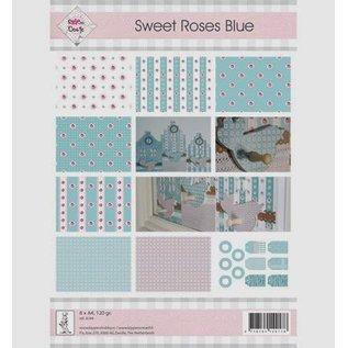 """DESIGNER BLÖCKE / DESIGNER PAPER A4, Papier und Labels, """"Sweet Roses Blue"""""""