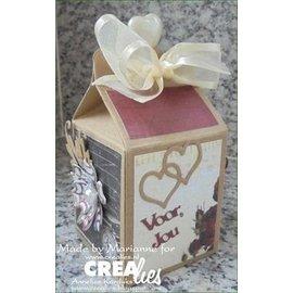 Crealies und CraftEmotions Criar uma caixa de presente: estampagem e stencil estampagem