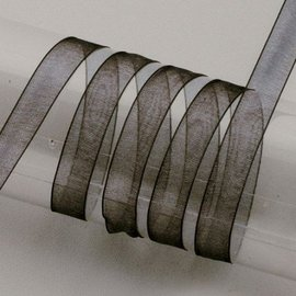 Embellishments / Verzierungen Organza bånd selvage, 6 mm, sort
