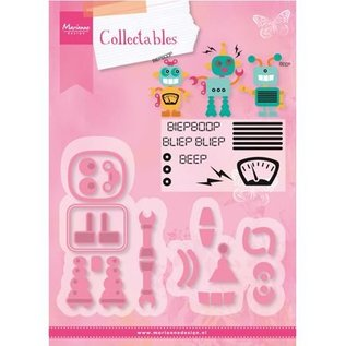 Marianne Design Stamping and embossing stencil + stamp designs: Robot