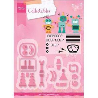 Marianne Design Stempling og prægning stencil + frimærkemotiver: Robot