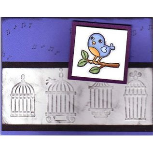 embossing Präge Folder Cuttlebug Embossingsfolder, border birdhouses