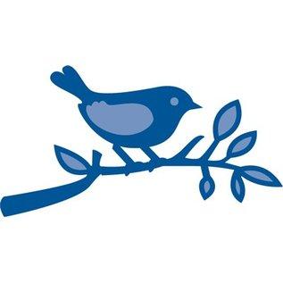Marianne Design Ponsen en embossing sjabloon: Vogel op een tak