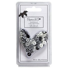 Docrafts / Papermania / Urban 60 mini buttons, black / white with dots