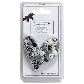 Docrafts / Papermania / Urban 60 Mini Knöpfe, schwarz / weiß mit Punkten