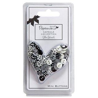 Docrafts / Papermania / Urban 60 mini knapper, sort / hvid med prikker