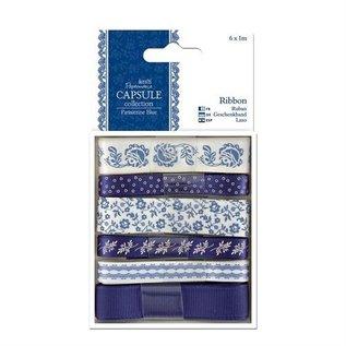 Docrafts / Papermania / Urban 6 X ruban 1m de satin, des tons bleus, ParisienneBlue