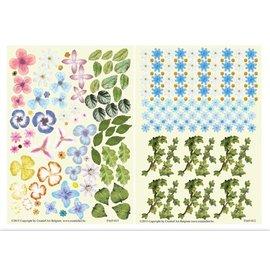Embellishments / Verzierungen Die feuille coupée, un ensemble de 2 arrangements floraux, bleu