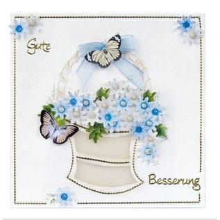 Embellishments / Verzierungen Die cut ark, sæt med 2 blomsterdekorationer, blå