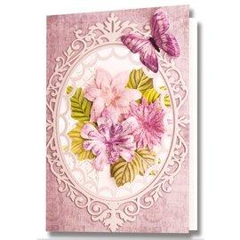 Embellishments / Verzierungen Die cut ark, sæt med 2 blomsterdekorationer, pink