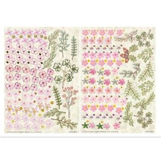Embellishments / Verzierungen Stanzbogen, 2er Set Blumen Gestaltungen, rosa