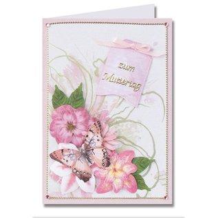 Embellishments / Verzierungen Die feuille coupée, un ensemble de 2 arrangements floraux, rose