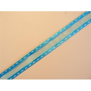 DEKOBAND / RIBBONS / RUBANS ... organza Dekoband with embroidered edges, turquoise