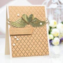 Spellbinders und Rayher Ponsen en embossing sjabloon: 2 vleugels en een hart