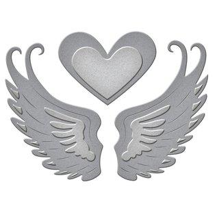 Spellbinders und Rayher Stanz- und Prägeschablone: 2 Flügel und ein Herz