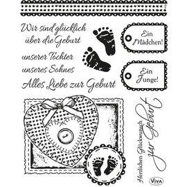 VIVA DEKOR (MY PAPERWORLD) Transparent jeu de timbres: naissance