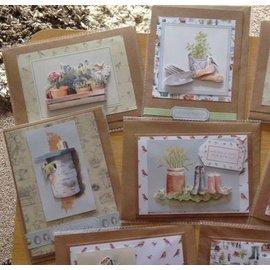 Docrafts / Papermania / Urban A4-decoupage kaarten set, tuin motieven