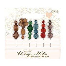 Embellishments / Verzierungen 6 Decorative Pins, Vintage Notes