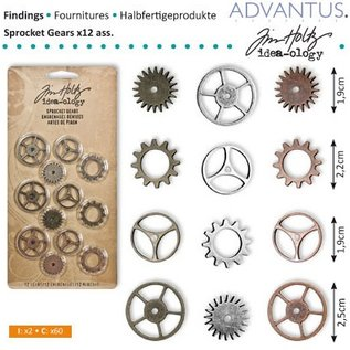 Embellishments / Verzierungen Kettenräderchen, 12 stykker antik,