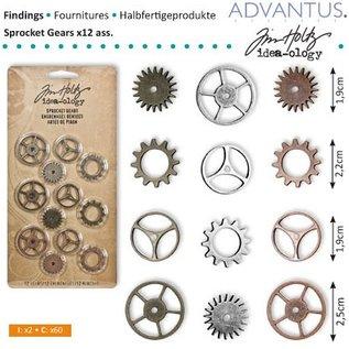 Embellishments / Verzierungen Zahnräderchen, 12 Stück, antique
