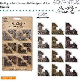 Embellishments / Verzierungen Metal hoek, 12 stuks antiek,