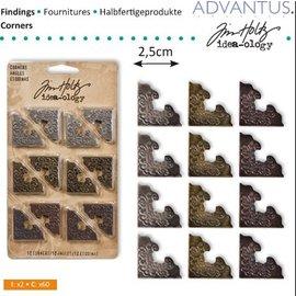 Embellishments / Verzierungen Metall Ecke, 12 Stück, antique