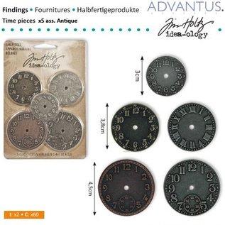 Embellishments / Verzierungen 5 Antikke ure, forskellige størrelse