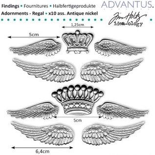 Embellishments / Verzierungen Antike metall Flügel + Krone