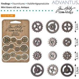 Embellishments / Verzierungen Mini Zahnräderchen, 12 Stück, antique - nur noch 1 vorrätig!