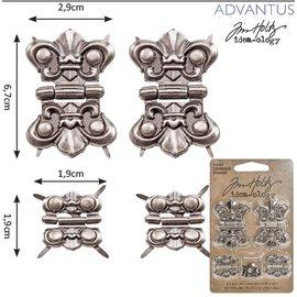 Embellishments / Verzierungen 4 metalen scharnieren, antieke