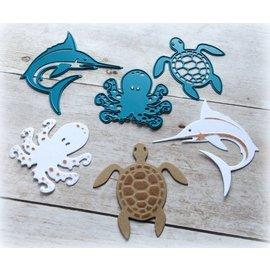 Joy!Crafts / Jeanine´s Art, Hobby Solutions Dies /  Stempling og prægning stencil, Squid, Turtle, Shark