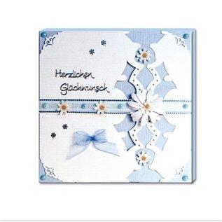 REDDY Komplettes SET für Fotobuchkarten rose und hellblau + 8 Doppelkarten gerillt